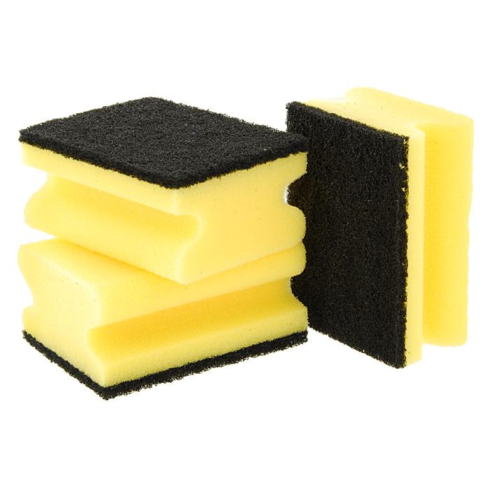 Набор губок Aqualine для мытья и чистки кастрюль, 3 шт1013Набор Aqualine состоит из трех губок, предназначенных для мытья и чистки кастрюль. Они прекрасно удаляют жир, грубые и затвердевшие загрязнения с кухонной посуды, не царапая ее. Для удобства применения на губках с одной стороны нанесен текстильный абразивный слой. Специальные пазы для пальцев по краям губок защитят ваши руки во время мытья посуды. Характеристики:Материал губки: 100% полиуретан. Материал чистящей части губки:30% полиамид, 10% полиэстер, 60% связующие вещества. Размер губки:9,5 см х 4 см х 7 см. Комплектация:3 шт. Производитель:Германия. Артикул:1006.