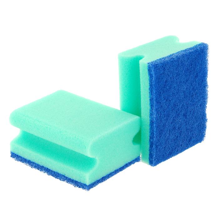 Набор губок Aqualine для мытья посуды, 2 шт1006Набор Aqualine состоит из двух губок для мытья посуды, изготовленной из деликатных материалов: акрила, тефлона, стекла, фарфора, хрусталя, полированной стали и стеклокерамики.Губки отлично удаляют жир, грязь и пригоревшую пищу, не царапая поверхности. Жесткая сторона губки не содержит абразива, чистит основательно и бережно, хорошо впитывает жидкость. Губки позволяют расходовать минимальное количество чистящих средств. Специальные пазы для пальцев по краям губок защитят ваши руки во время мытья посуды. Характеристики:Материал губки: 100% полиуретан. Материал чистящей части губки:30% полиамид, 10% полиэстер, 60% связующие вещества. Размер губки:9,2 см х 4,5 см х 7 см. Комплектация:2 шт. Производитель:Германия. Артикул:1006.