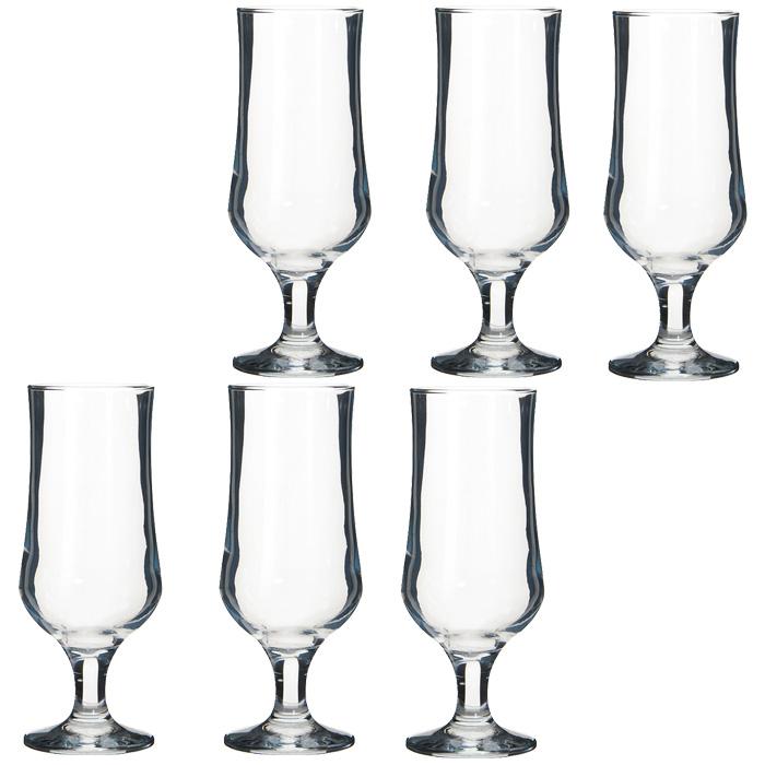 """Набор бокалов """"Tulipe"""", выполненный из стекла, включает шесть стаканов. Такие бокалы прекрасно подойдут для подачи пива.  Прозрачные стенки бокала позволят вам оценит цвет, прозрачность и пеностойкость напитка. Такой набор будет прекрасным подарком для любителей пива.   Характеристики:   Материал: стекло. Высота бокала: 19 см. Диаметр стакана по верхнему краю: 6,5 см. Объем стакана: 370 мл. Размер упаковки: 24 см х 16 см х 19,5 см. Производитель: Турция. Изготовитель: Россия. Артикул: 44169."""