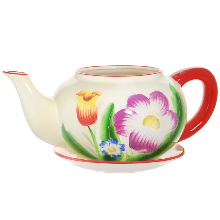 Горшок для цветов, с поддоном. XY10S012D4601137053066Горшок для цветов, изготовленный из керамики, выполнен в виде заварочного чайника, который предназначен для установки внутрь растения.Горшок, оформленный яркими красками, обладает долговечностью и износостойкостью. Это изделие не потеряет яркости красок и четкости форм даже после длительной эксплуатации. Горшок для цветов часто становится последним штрихом, который совершенно изменяет интерьер помещения или ландшафтный дизайн сада. Благодаря такому горшку вы сможете украсить вашу комнату, офис, сад и другие места. Характеристики:Материал: керамика. Диаметр отверстия для цветов:15 см. Максимальный диаметр горшка (без учета ручки и носика):23 см. Высота горшка:17 см. Диаметр поддона:23 см. Размер упаковки:32 см х 19 см х 26 см. Изготовитель:Китай. Артикул:XY10S012D.