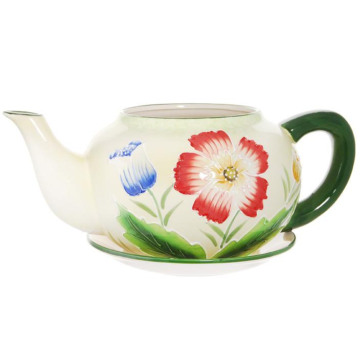 Горшок для цветов, с поддоном. XY10S012F4601137053080Горшок для цветов, изготовленный из керамики, выполнен в виде заварочного чайника, который предназначен для установки внутрь растения.Горшок, оформленный яркими красками, обладает долговечностью и износостойкостью. Это изделие не потеряет яркости красок и четкости форм даже после длительной эксплуатации. Горшок для цветов часто становится последним штрихом, который совершенно изменяет интерьер помещения или ландшафтный дизайн сада. Благодаря такому горшку вы сможете украсить вашу комнату, офис, сад и другие места. Характеристики:Материал: керамика. Диаметр отверстия для цветов:15 см. Максимальный диаметр горшка (без учета ручки и носика):23 см. Высота горшка:17 см. Диаметр поддона:23 см. Размер упаковки:32 см х 19 см х 26 см. Изготовитель:Китай. Артикул:XY10S012F.