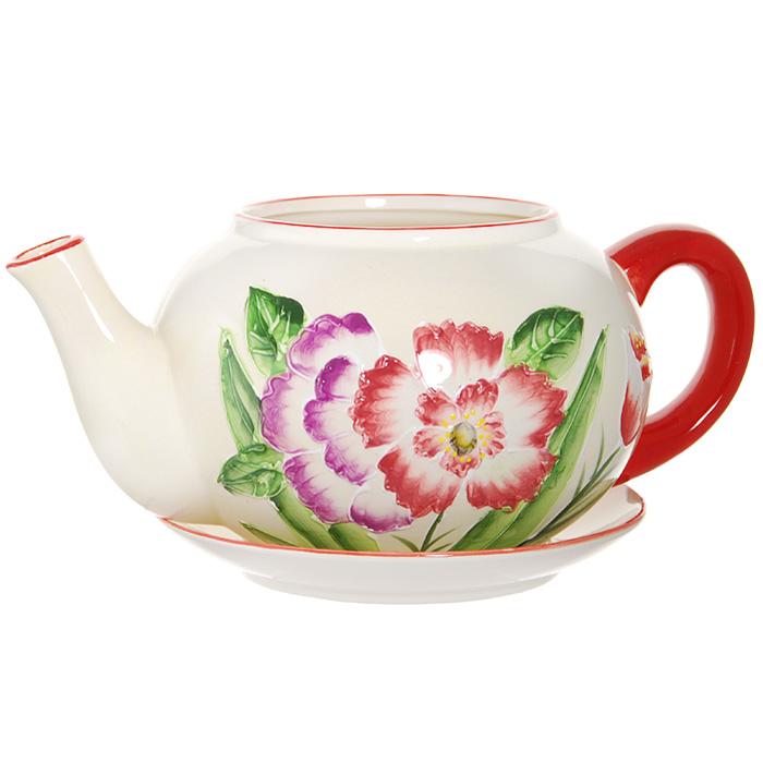 Горшок для цветов, с поддоном. XY10S015-1C4601137053110Горшок для цветов, изготовленный из керамики, выполнен в виде заварочного чайника, который предназначен для установки внутрь растения.Горшок, оформленный яркими красками, обладает долговечностью и износостойкостью. Это изделие не потеряет яркости красок и четкости форм даже после длительной эксплуатации. Горшок для цветов часто становится последним штрихом, который совершенно изменяет интерьер помещения или ландшафтный дизайн сада. Благодаря такому горшку вы сможете украсить вашу комнату, офис, сад и другие места. Характеристики:Материал: керамика. Диаметр отверстия для цветов:12 см. Максимальный диаметр горшка (без учета ручки и носика):18 см. Высота горшка:14 см. Диаметр поддона:20 см. Размер упаковки:25,5 см х 16,5 см х 21 см. Изготовитель:Китай. Артикул:XY10S015-1C.
