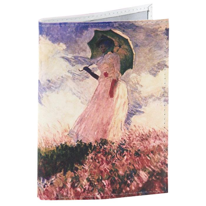 Обложка для паспорта Клод Моне - Дама с зонтиком. OK014 картина из кожи дама с зонтиком моне коллекция elole interior синий сплошн холст прямоуг рама