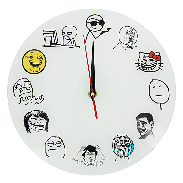 Часы настенные Тролль фейс93383Настенные кварцевые часы Тролль фейс своим необычным дизайном подчеркнут стильность и оригинальность интерьера вашего дома. Циферблат часов выполнен из стекла и оформлен забавными картинками. Часы имеют три стрелки - часовую, минутную и секундную. На задней стенке часов расположена металлическая петелька для подвешивания. Такие часы послужат отличным подарком для ценителя ярких и необычных вещей. Характеристики:Материал: стекло, металл. Диаметр часов:28 см. Размер упаковки:30 см х 29 см х 5 см. Изготовитель:Россия. Артикул:93383. Рекомендуется докупить батарейку типа АА (не входит в комплект).