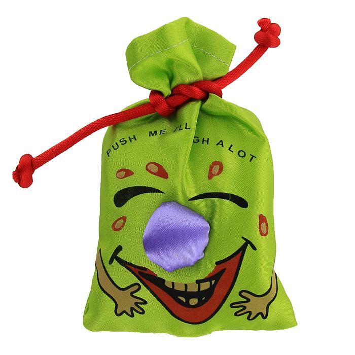 Сувенир Эврика Мешочек со смехом, цвет: зеленый93394Сувенир Эврика Мешочек со смехом, изготовленный из текстиля, несомненно,станет замечательным и оригинальным подарком для друзей и близких и вызоветулыбку у каждого! Мешочек является замечательным антидепрессантом иулучшителем настроения. Сожмите его в руке и он зальется звонким смехом. Изделие оформлено забавной смеющейся рожицей и надписью Push me, ill laugh a lot.Отличный сувенир для хорошего настроения!