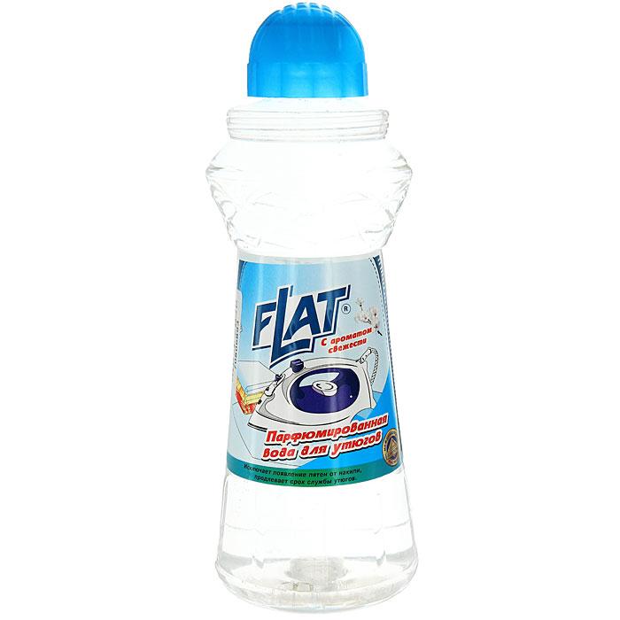 Вода парфюмированная Flat для утюгов, с ароматом свежести, 800 г4600296001024Парфюмированная вода Flat предназначена для утюгов с отпаривателем. Она не содержит солей жесткости, образующих накипь и известковый налет на парообразовательном элементе утюга. Предохраняет белье от появления пятен известковой накипи и ржавчины при отпаривании. Придает ему свежесть и гладкость. Регулярное использование парфюмированной воды Flat продлевает срок службы вашего утюга. Характеристики:Вес: 800 г. Производитель:Россия.Товар сертифицирован.Как выбрать качественную бытовую химию, безопасную для природы и людей. Статья OZON Гид