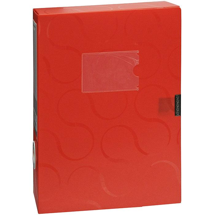 Короб для документов Omega, на липучке, цвет: красный0410-0044-05Короб для документов Omega красного цвета применяется для хранения и транспортировки документов. Короб выполнен из плотного пластика и закрывается на липучку. Короб оснащен карманом для визитки, корешком со сменным вкладышем и кольцом для удобного извлечения с полочки. Короб обеспечит вам надежную защиту документов в течении длительного времени. Характеристики:Размер: 24 см х 6 см х 32 см. Цвет: красный. Формат: А4.