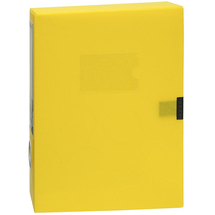 Короб для документов Omega, на липучке, цвет: желтый0410-0044-06Короб для документов Omega желтого цвета применяется для хранения и транспортировки документов. Короб выполнен из плотного пластика и закрывается на липучку. Короб оснащен карманом для визитки, корешком со сменным вкладышем и кольцом для удобного извлечения с полочки. Короб обеспечит вам надежную защиту документов в течении длительного времени. Характеристики:Размер: 24 см х 6 см х 32 см. Цвет: желтый. Формат: А4.