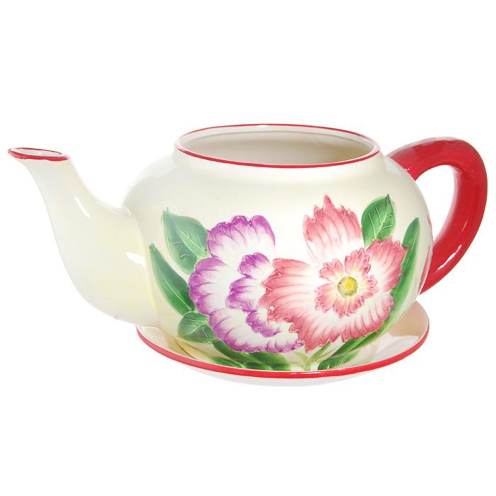 Горшок для цветов, с поддоном. XY10S012C4601137053059Горшок для цветов, изготовленный из керамики, выполнен в виде заварочного чайника, который предназначен для установки внутрь растения.Горшок, оформленный яркими красками, обладает долговечностью и износостойкостью. Это изделие не потеряет яркости красок и четкости форм даже после длительной эксплуатации. Горшок для цветов часто становится последним штрихом, который совершенно изменяет интерьер помещения или ландшафтный дизайн сада. Благодаря такому горшку вы сможете украсить вашу комнату, офис, сад и другие места. Характеристики:Материал: керамика. Диаметр отверстия для цветов:15 см. Максимальный диаметр горшка (без учета ручки и носика):23 см. Высота горшка:16,5 см. Диаметр поддона:23 см. Размер упаковки:32 см х 19 см х 26 см. Изготовитель:Китай. Артикул:XY10S012C.