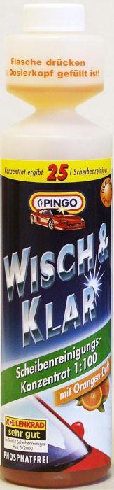 Добавка в бачок стеклоомывателя Pingo, с ароматом апельсина, 250 мл00788-9Моющий концентрат для стеклоочистителей Pingo (концентрат 1:100) быстро и эффективно очищает стекло от дорожной грязи, масляных пятен, следов насекомых и т.д. Не оставляет разводов, подтеков и мутной пленки, обеспечивая тем самым безопасность и комфорт вождения. Удаляет известковые отложения в системе стеклоомывания, препятствуя закупорке шлангов и распылительных форсунок. Состав содержит специальные компоненты, продлевающие срок службы резиновых накладок дворников. Флакон снабжен специальным дозатором, позволяющим легко отмерять нужное количество концентрата. С натуральным ароматом апельсина.Способ применения: Добавьте состав в бачок стеклоомывателя из расчета 25 мл концентрата на 2,5 литра воды. Характеристики:Объем:250 мл.Производитель: Германия.Артикул: 00788-9.
