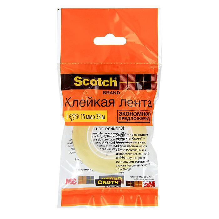Клейкая лента Scotch, цвет: прозрачный. C27913C27913 (500-1533)Канцелярская клейкая лента Scotch - универсальный помощник в доме и офисе. Лента предназначена для склеивания документов, упаковки, картона и имеет сильный клеящий состав. После наклеивания лента становится абсолютно невидимой. Характеристики:Длина ленты: 33 м. Ширина ленты: 1,5 см.