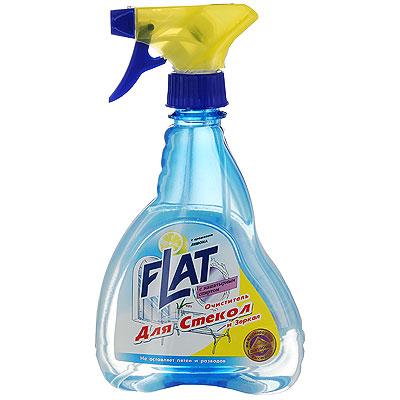 """Очиститель """"Flat"""" для стекол и зеркал, с ароматом лимона, 480 г"""