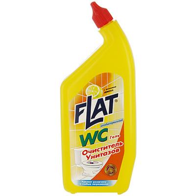 """Очиститель """"Flat"""" предназначен для чистки унитазов, фаянсовых раковин, никелированных изделий, кафеля. Очиститель прекрасно удаляет ржавчину и  отложения известкового камня. Также устраняет неприятные запахи. Густая консистенция позволяет ему не стекать с наклонных поверхностей. Удобная упаковка с """"носиком"""", позволяет использовать средство в труднодоступных поверхностях унитаза. Средство обладает приятным запахом лимона.       Характеристики:  Вес: 550 г. Производитель: Россия  Как выбрать качественную бытовую химию, безопасную для природы и людей. Статья OZON Гид"""