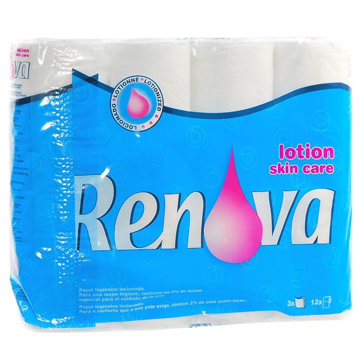 Туалетная бумага Renova Skin Care, ароматизированная, 3 слоя, цвет: белый, 12 рулонов кулер для воды renova dc f16c black