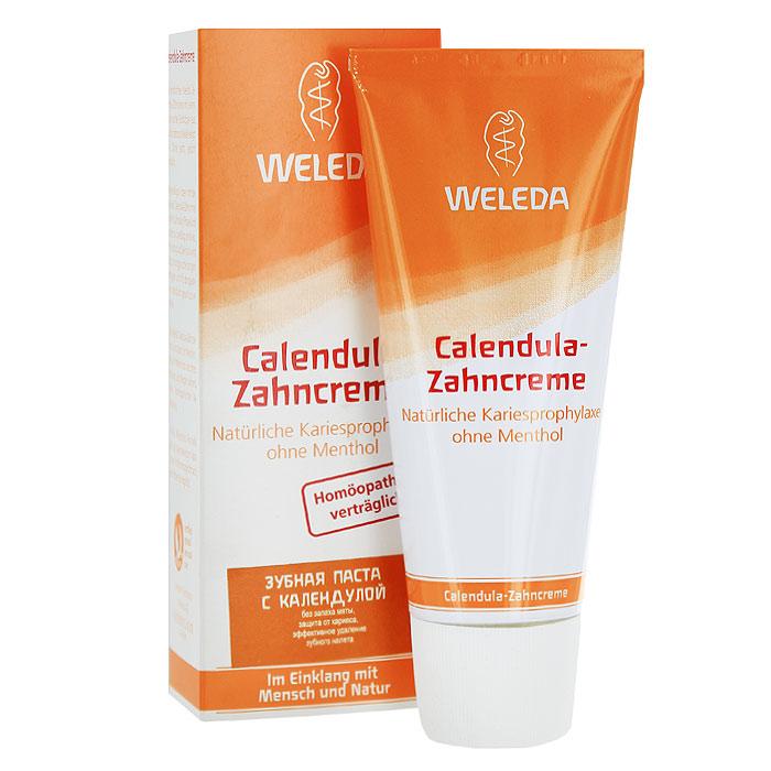 Weleda Зубная паста с календулой, без запаха мяты, 75 мл9801ПЗубная паста Weleda с календулой прекрасно подходит для ежедневного длительного применения. Эффективно удаляет зубной налет, обеспечивая защиту от кариеса. Рекомендована при прохождении лечения гомеопатическими препаратами и для тех, кто не любит мяту. Мягкое натуральное эфирное масло фенхеля создает ощущение свежести в ротовой полости.Характеристики:Объем: 75 мл. Размер упаковки: 14 см х 5 см х 4 см. Производитель: Германия. Артикул: 9801. Товар сертифицирован.