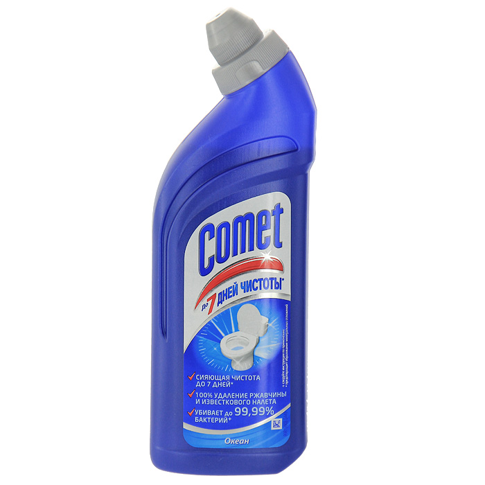 Средство чистящее Comet для туалета, океан, 500 млCG-2702476Чистящее средство Comet для туалета сохраняет и продлевает чистоту до 7 дней, благодаря защитному слою. Средство отлично чистит и удаляет известковый налет и ржавчину, а также дезинфицирует поверхность.Придает свежий аромат. Характеристики:Объем: 500 мл. Производитель:Россия. Товар сертифицирован.Как выбрать качественную бытовую химию, безопасную для природы и людей. Статья OZON Гид