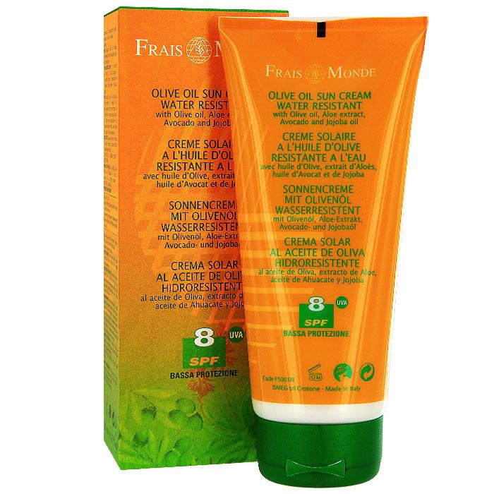 Крем для загара Frais Monde, водостойкий, SPF 8, 200 млFS001NВодостойкий крем для загара Frais Monde обладает легкой шелковистой текстурой. Крем быстро впитывается и не оставляет на коже жирного блеска.Масло оливы эффективно защищает кожу от сухости. Масла жожоба и авокадо глубоко проникают в клетки кожи и обеспечивают идеальное питание и предотвращают старение клеток кожи. Комбинация UVA + UVB фильтров защищает кожу от неблагоприятного воздействия солнца и продлевает загар. Экстракт алоэ обеспечивает необходимую степень увлажнения и сохраняет естественный гидролипидный баланс кожи.Все компоненты предотвращают пересыхание кожи, делают ее мягкой, эластичной и увлажненной, борются с преждевременным старением, обеспечивают вашей коже равномерный золотистый загар. Уникальная формула крема делает его стойким к воздействию воды и эффективным даже после повторного купания. Способ применения: равномерно нанести крем на все тело перед выходом на солнце, при длительном пребывании на солнце нанести крем повторно. Перед применением взбалтывать.Не предназначен для использования в солярии. Характеристики:Объем: 200 мл. Фактор защиты: 8. Производитель: Италия.Итальянская компанияISMEG Srlпоявилась, благодаря принадлежащему ей термальному источнику, богатому серой. Компания придерживается традиции производства высококачественной продукции, ее миссия - обновлять производство, но сохранять естественные неповрежденные формулы. Компанию отличают глубокие исследования в области косметики и страсть к развитию природных ресурсов. Товар сертифицирован.