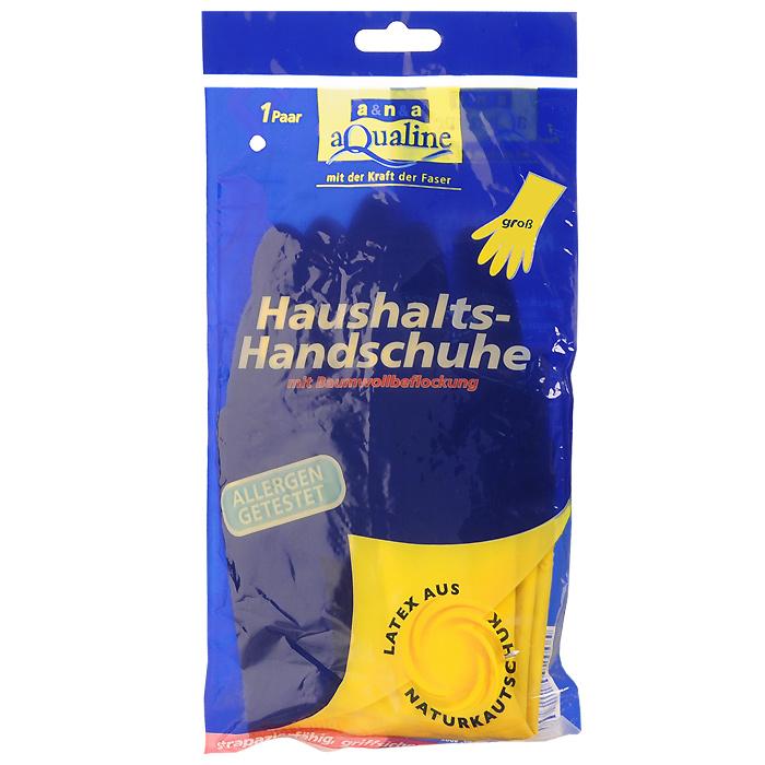 Перчатки резиновые Aqualine, легкие. Размер 9 (большой)9004Резиновые перчатки Aqualine предназначены для любых видов работ в доме и саду. Они эффективно предохраняют кожу от грязи и воздействия моющих средств. Руки не потеют благодаря внутреннему слою с флокированием из натурального хлопка. Они очень прочные, поэтому прослужат долгое время.Состав: натуральная резина, наполнитель, средства для вулканизации, стабилизаторы, диоксид титана.