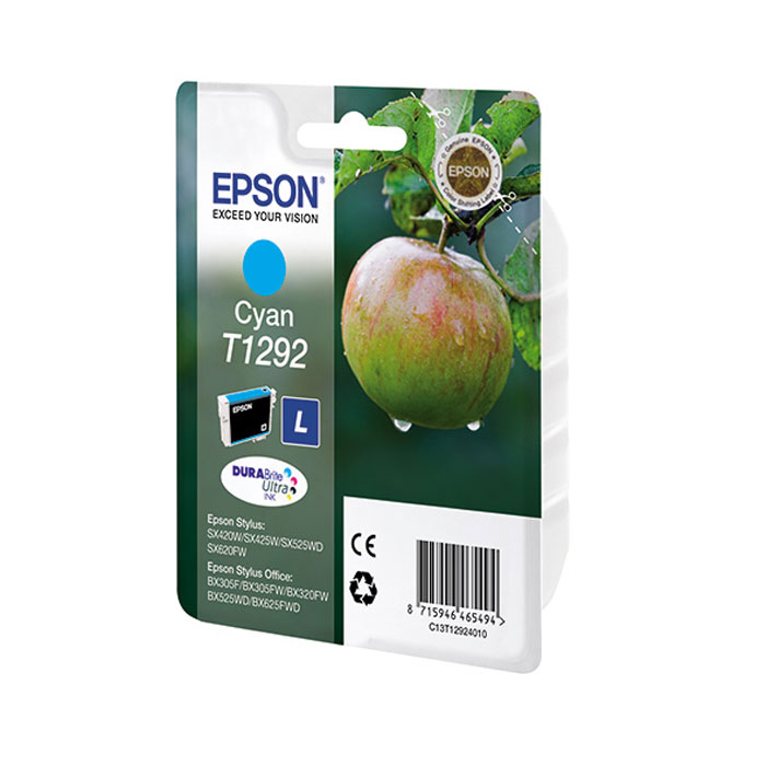 Epson T1292 (C13T12924012), Cyan картридж для Epson St SX420/425/525WD/B42WD/BX320FW/BX625WFDC13T12924012Картридж повышенной емкости Epson.