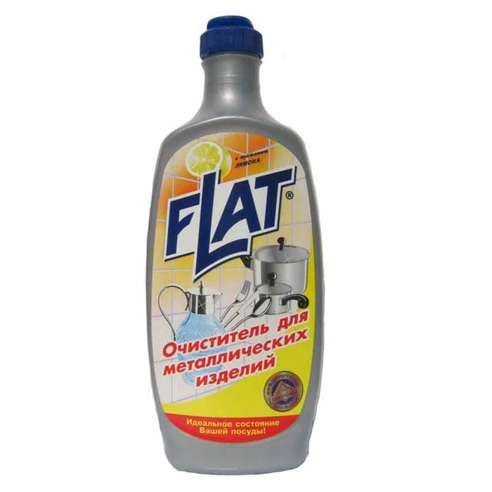 Очиститель Flat для металлических изделий, с ароматом лимона, 500 г гель для мытья посуды flat с гликозидом с ароматом лимона 500 г