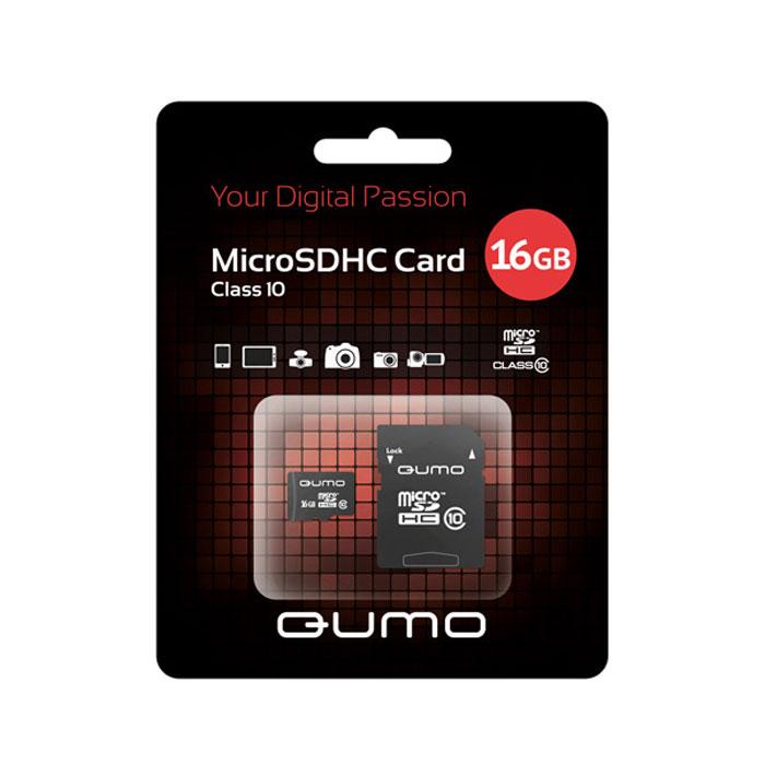 QUMO microSDHC Сlass 10 16GB карта памяти + адаптерQM16GMICSDHC10Универсальная карта QUMO microSDHC расширяет память многофункциональных мобильных телефонов, цифровых камер, карманных компьютеров и других портативных устройств, поддерживающие данный формат карт. Идеально подходит для записи любых видов данных. Сохраните больше своих собственных коллекций музыки, видеороликов, кинофильмов, рингтонов, картин и фотографий!Внимание: перед оформлением заказа убедитесь в поддержке вашим электронным устройством карт памяти данного объема.