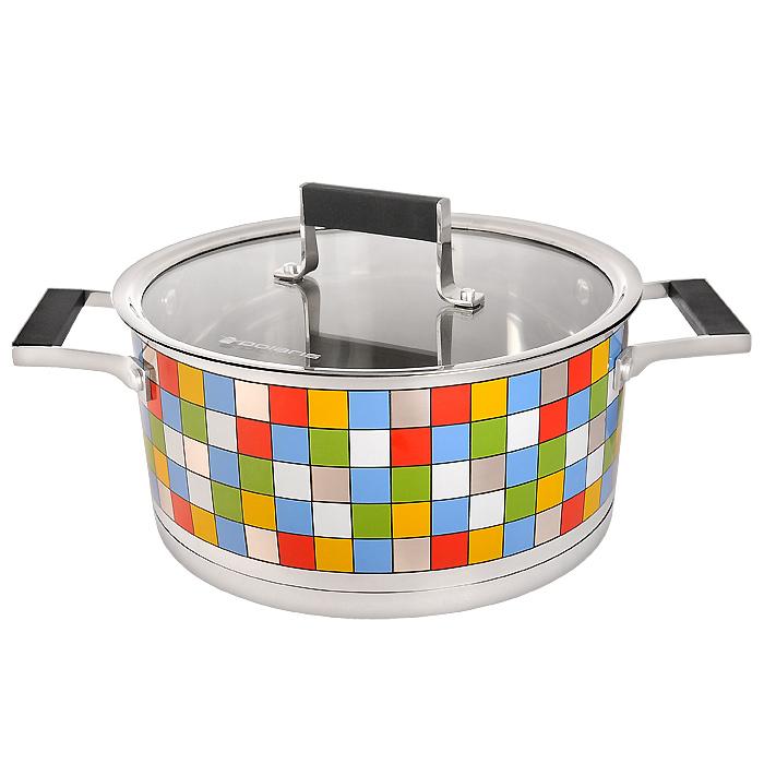 Кастрюля Polaris Mosaic с крышкой, 5 лMOSAIC 24СКастрюля Polaris Mosaic идеально подойдет для приготовления вкусной и здоровой пищи. Она изготовлена из высококачественной нетоксичной хромоникелевой нержавеющей стали 18/10. Зеркальная полировка с уникальной мозаичной деколью с внешней стороны придает посуде привлекательный вид. Специальное утолщенное тройное дно (5,6 мм) с прослойкой из алюминия (4,5 мм) обеспечивает быстрый и равномерный нагрев кастрюли. Специальная обработка стенок и дна значительно облегчает процесс чистки и мытья посуды. На внутренней стороне стенок имеются отметки литража, что является дополнительным удобством во время приготовления пищи. Кастрюля снабжена двумя удобными не нагревающимися комбинированными ручками из стали с силиконовыми вставками. К кастрюле прилагается крышка, которая позволяет готовить пищу без потери тепла, сокращает сроки приготовления продуктов, максимально сохраняет витамины, микроэлементы и питательные вещества. Она оснащена металлическим ободом и специальным отверстием для выпуска пара. Стальная ручка крышки также имеет силиконовую вставку, которая обеспечивает безопасное использование. Кастрюля Polaris Mosaic подходит для использования на всех типах плит, включая индукционные. Характеристики:Материал:нержавеющая сталь 18/10, алюминий, стекло, силикон. Объем кастрюли:5 л. Внутренний диаметр кастрюли:24 см. Внешний диаметр кастрюли:25,3 см. Высота стенок кастрюли:12 см. Толщина стенок кастрюли:0,6 мм. Размер упаковки:35,5 см х 14 см х 25 см. Производитель:США. Изготовитель:Китай. Артикул:MOSAIC 24SP. УВАЖАЕМЫЕ КЛИЕНТЫ!Обращаем ваше внимание на тот факт, что объем ковша указан максимальный, с учетом полного наполнения до кромки, шкала на внутренней стенке имеет меньший литраж.