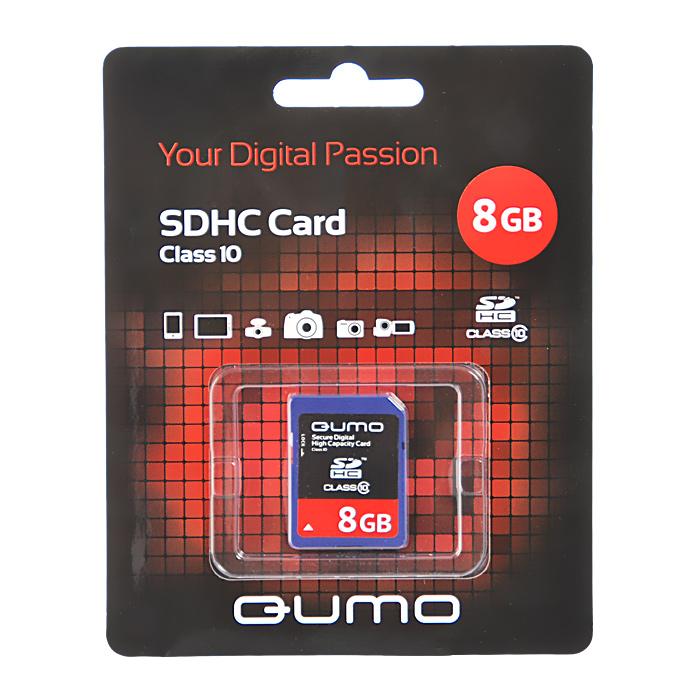 QUMO SDHC Class 10 8GB карта памятиQM8GSDHC10Карта памяти QUMO SDHC/SDXC Class 10 предназначена для расширения памяти мобильных телефонов, цифровых фото и видеокамер, ноутбуков, карманных компьютеров и других портативных устройств, поддерживающих данный формат карт, и является одной из самых популярных. Практически неограниченный срок хранения записанных на карту материалов и большой срок безукоризненной работы идеально подходят для записи любых видов данных.Внимание: перед оформлением заказа убедитесь в поддержке вашим электронным устройством карт памяти данного объема.