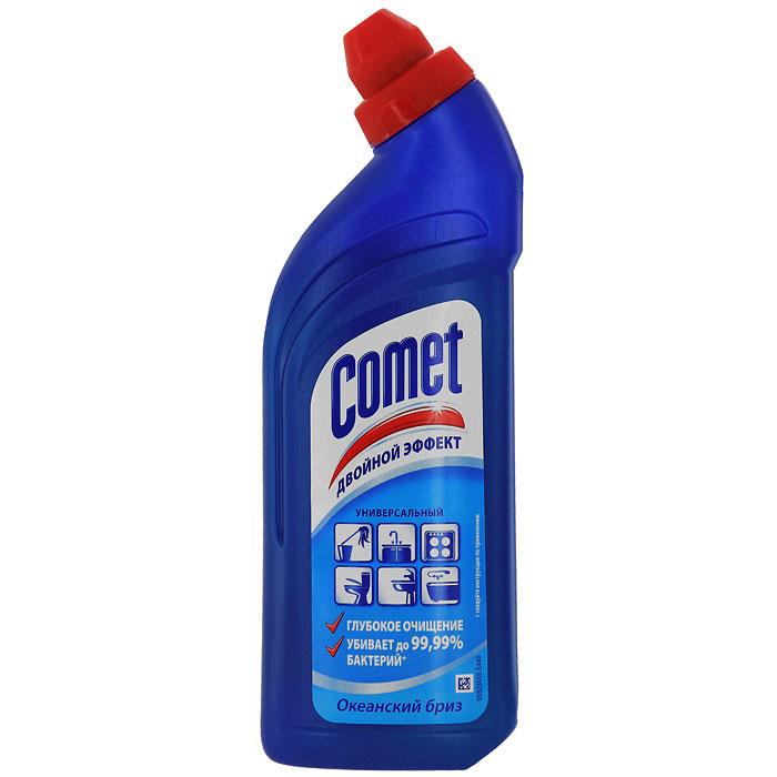Универсальный чистящий гель Comet Двойной эффект, океанский бриз, 500 млCG-81521052Чистящий гель Comet предназначен для глубокого очищения поверхностей. Эффективно удаляет повседневные загрязнения и обычный жир во всем доме, а также дезинфицирует поверхности. Средство подходит для плит (в том числе стеклокерамических), ванн, раковин, унитазов, кафеля, мытья полов. Обладает приятным ароматом. Характеристики:Объем: 500 мл. Производитель:Россия. Товар сертифицирован.