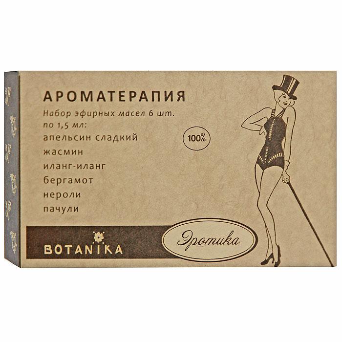 """В набор Botanika """"Эротика"""" входят 100% эфирные масла: апельсин сладкий, бергамот, жасмин, иланг-иланг, нероли, пачули.   Говорят, мужчина воспринимает и любит женщину глазами, а женщина мужчину - ушами, должны внести в это утверждение некоторое уточнение. Последние исследования в этой области показали, что мужчины и женщины """"чуют"""" друг друга по запаху! У каждого из нас свое понятие о том, что эротично. В некоторых странах для интимной обстановки рекомендуется и широко используется так называемые """"чувственные"""" смеси. Вы можете, экспериментируя, создать свои композиции """"эротических"""" эфирных масел.    Характеристики:    Объем: 6 x 1,5 мл. Производитель: Россия.   Товар сертифицирован.    Краткий гид по парфюмерии: виды, ноты, ароматы, советы по выбору. Статья OZON Гид"""