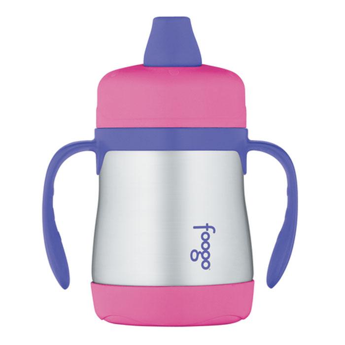 """Термос-поильник Phases """"Foogo"""" с мягким носиком и ручками, цвет: розовый, сиреневый, 200 мл"""