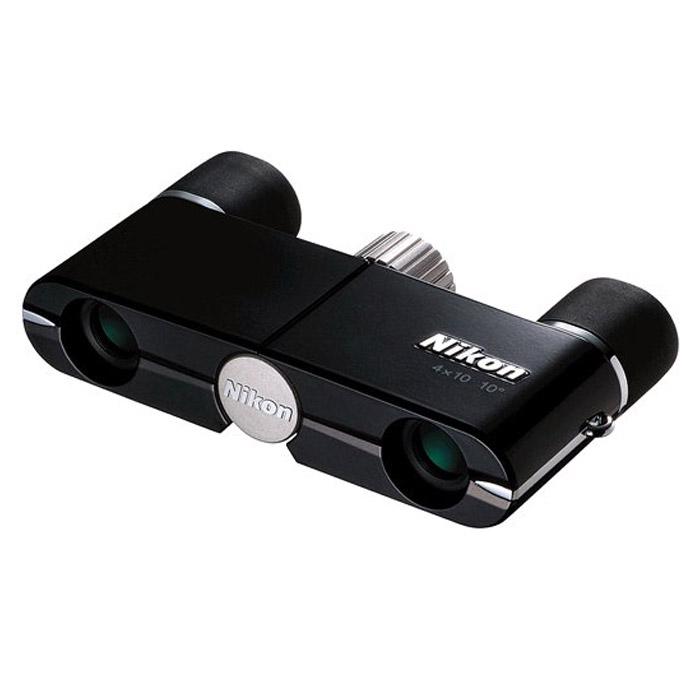 Nikon Elegant Compact 4x10 DCF CF чёрныйElegant Compact 4x10 DCFСверхкомпактный и очень легкий бинокль Nikon Elegant Compact 4x10 DCF CF с диаметром объектива 10 мм, 4-кратным увеличением и минимальным расстоянием фокусировки всего в 1,2 м. Отлично подходит для театров, музеев и художественных галерей. Линзы и призмы Nikon с многослойным просветляющим покрытием обеспечивают превосходные оптические характеристики и удивительно яркое изображение. Благодаря отличному сочетанию характеристик, элегантного дизайна и компактности эти бинокли идеально подходят для того, чтобы положить их в карман или сумку перед выходом из дома.