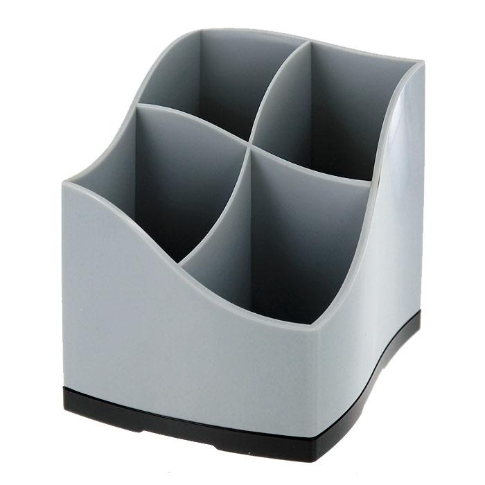 Подставка для пишущих принадлежностей Proff, 4 отделения, цвет: серый20-7809Подставка для пишущих принадлежностей Proff - незаменимый атрибут рабочего стола в офисе и дома. Подставка квадратной формы с волнообразно изогнутым верхним краем выполнена из серого пластика и состоит из 4 вместительных отделений для ручек, карандашей и различных канцелярских мелочей (скрепок, кнопок и т.д.).Подставка Proff поможет сохранить ваши пишущие принадлежности в порядке, и они всегда будут находиться у вас под рукой. Характеристики: Цвет: серый.Размер подставки: 11 см х 9 см x 9 см. Размер упаковки: 11 см х 9 см x 9 см. Изготовитель: Китай.