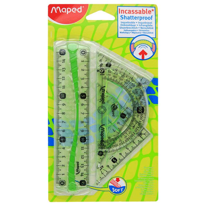 Геометрический набор Maped, цвет: зеленый, 4 предмета maped набор математический essentials 8 предметов с циркулем