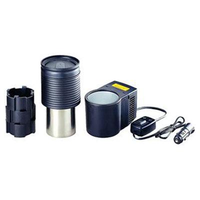 Термоэлектрическое устройство охлаждения и подогрева Ezetil ColdKing CanCooler Set 12V2809282Термоэлектрическое устройство охлаждения и подогрева Ezetil ColdKing CanCooler Set 12V. Устанавливается в любом удобном месте автомобиля. С его помощью можно охладить баночку напитка емкостью 0,33 л. или нагреть металлическую емкость объемом 0,5 л (в комплекте). Вы можете подключить этот набор к источнику питания 12 Вольт в вашем автомобиле. Налейте в металлическую емкость примерно 0,3 литра чистой воды и установите емкость в нагреватель. Через 30 минут вода станет горячей. Добавьте пакетик чая или ложку растворимого кофе. Горячий напиток в дороге! Стакан снабжен защитным резиновым кольцом, чтобы не обжечься, и, клапаном на крышке - чтобы не пролить горячую воду на колени. Время охлаждения баночки 0,33 л примерно 30 минут.Особенности модели:Режим охлаждения и режим подогрева;Работает от бортовой сети 12 В;Простая и быстрая установка. Характеристики: Размер устройства: 20 см х 12 см х 8 см. Вес устройства: 1 кг. Напряжение: 9-15 В. Потребляемая мощность: 48 Вт. Охлаждение: на 18°С ниже окружающей температуры. Нагрев: до 55°С. Материал: пластмасса, алюминий, сталь. Размер упаковки: 30 см х 21 см х 10 см. Изготовитель: Чехия. Артикул: RVP 1B. Объем, л:0,5