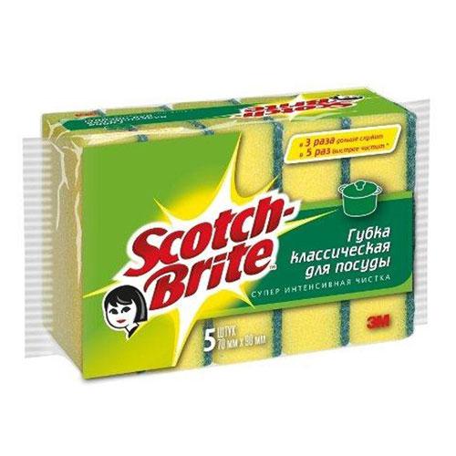 Губка для мытья посуды Scotch-Brite, 5 шт. 1100711007Набор из 5 губок Scotch-Brite предназначен для мытья посуды. Лучшая губка для вашей кухни! Идеально удаляет жир, грязь и пригоревшую пищу. Отлично подходит как для посуды, так и для любой другой поверхности. Для удобства применения с одной стороны губки нанесен абразивный слой. Губки сохраняют чистоту и свежесть даже после многократного применения, а их эргономичная форма удобна для руки. Характеристики: Материал: сложные полимеры. Размер: 7 см х 9 см х 2,5 см. Количество:5 шт. Изготовитель:Россия. Артикул:11007.