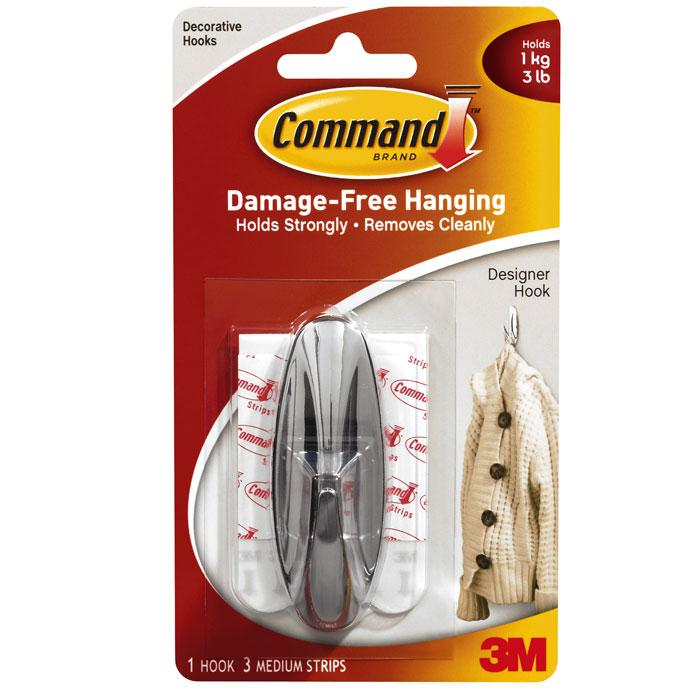 Легкоудаляемый крючок Command самоклеящийся, хромированный, до 1 кг легкоудаляемый крючок command большой до 2 кг