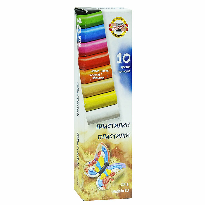 Пластилин Koh-i-Noor, 10 цветов. 1317106330639Цветной пластилин Koh-i-Noor, предназначенный для лепки и моделирования, поможет ребенку развить творческие способности, воображение и мелкую моторику рук. Пластилин обладает отличными пластичными свойствами, быстро размягчается, хорошо держит форму и не липнет к рукам. Легко отмывается с рук и отстирывается от одежды.Пластилин нетоксичен, безопасен для здоровья. В наборе 10 цветов: белый, бежевый, желтый, оранжевый, алый, розовый, синий, зеленый, коричневый, черный.Характеристики: Общий вес: 200 г. Размер одного брусочка пластилина: 4,5 см х 1,5 см х 1,5 см. Размер упаковки: 6 см х 20 см х 2,5 см. УВАЖАЕМЫЕ КЛИЕНТЫ! Обращаем ваше внимание на возможные изменения в дизайне упаковки. Поставка осуществляется в одном из двух приведенных вариантов упаковок в зависимости от наличия на складе. Комплектация осталась без изменений.