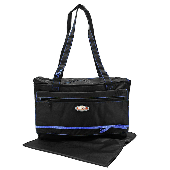 Сумка-термос Foogo Large Diaper Fashion Bag, цвет: черный, синий, 10 л термосумки thermos сумка термос для мамы foogo large diaper fashion bag