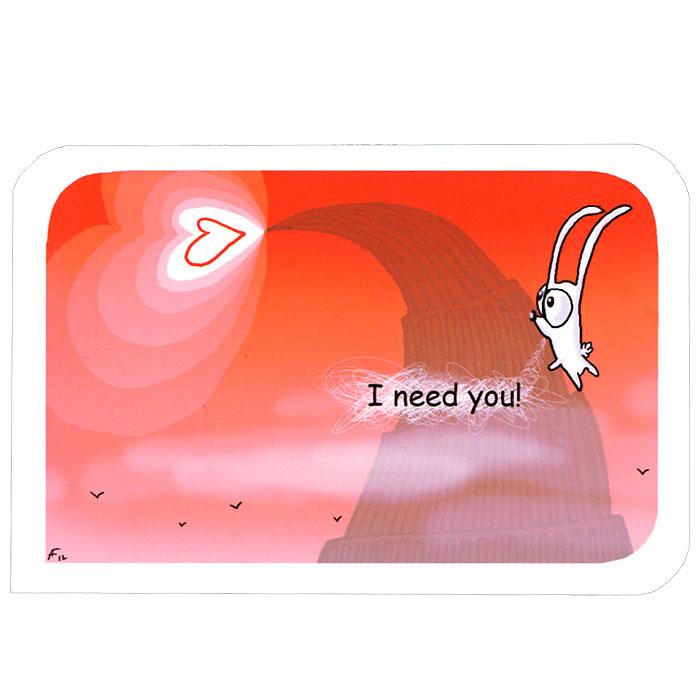Открытка I need you!. Ручная авторская работа. IL010il-10Авторская открытка станет необычным и ярким дополнением к подарку дорогому и близкому вам человеку или просто добавит красок в серые будни. Открытка оформлена изображением забавного зайца, карабкающегося на гору, и надписью I need you!. Обратная сторона открытки не содержит текста, что позволит вам самостоятельно написать самые теплые и искренние пожелания.К открытке прилагается бумажный конверт. Характеристики: Размер:15 см х 10 см. Материал: бумага. Артикул: Il-10.