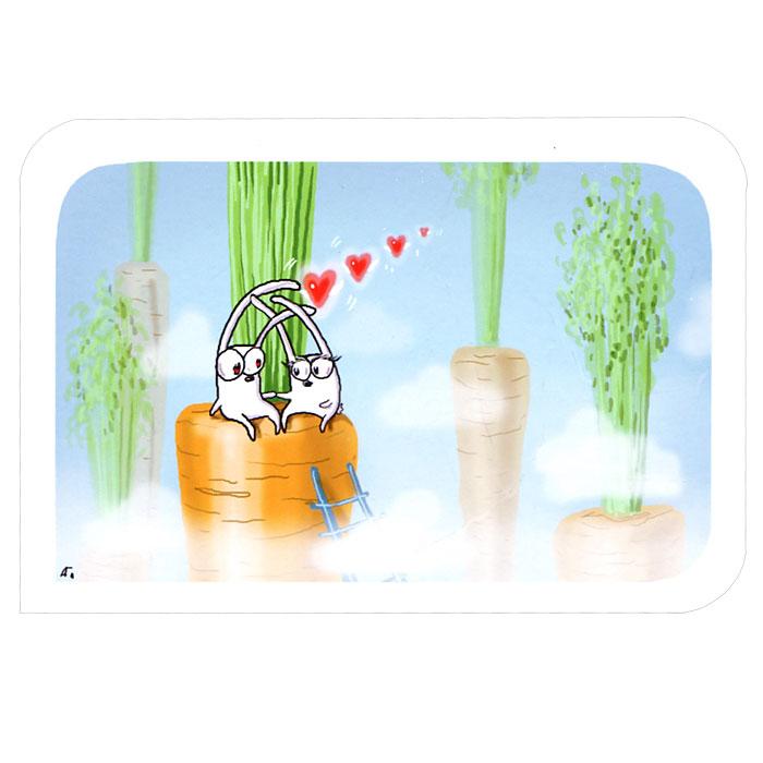 Авторская открытка станет необычным и ярким дополнением к подарку дорогому и близкому вам человеку или просто добавит красок в серые будни. Открытка оформлена изображением двух забавных зайцев, сидящих на морковке в облаках.  Обратная сторона открытки не содержит текста, что позволит вам самостоятельно написать самые теплые и искренние пожелания. К открытке прилагается бумажный конверт.   Характеристики:   Размер:  15 см х 10 см. Материал: бумага. Артикул: Il-23.