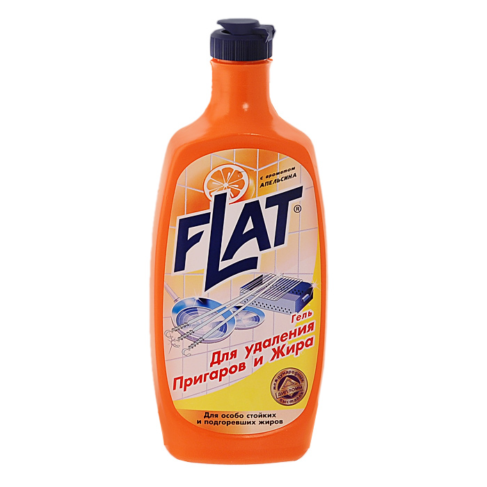 Гель для удаления пригаров и жира Flat, с ароматом апельсина, 500 г4600296001802Гель Flat - высокоэффективное средство для удаления пригоревшей пищи и жира со сковород, шампуров, мангалов, противней, кастрюль, а также с плит, духовок и микроволновых печей. Гель придает посуде блеск и обновленный вид. Имеет приятный аромат апельсина.Особенности геля Flat: отделяет от поверхности пригоревшую пищу и расщепляет жиры; не содержит абразивных веществ; не царапает очищаемую поверхность; имеет густую консистенцию; не требует подогрева и механических усилий. Характеристики:Вес: 500 г. Производитель: Россия.Товар сертифицирован.Как выбрать качественную бытовую химию, безопасную для природы и людей. Статья OZON Гид