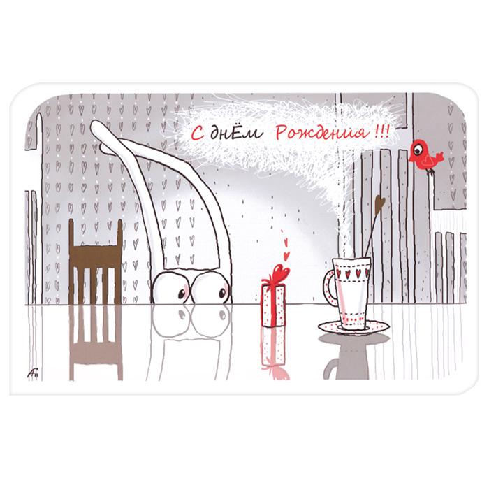 Открытка С днем рождения!!!. Ручная авторская работа. B-3b-3Авторская открытка станет необычным и ярким дополнением к подарку дорогому и близкому вам человеку. Открытка оформлена изображением забавных зайцев с подарками инадписью С днем рождения!!!. Обратная сторона открытки не содержит текста, что позволит вам самостоятельно написать самые теплые и искренние пожелания. Характеристики: Автор: Vsegdaestpovod. Размер:15 см х 10 см. Материал: бумага. Артикул: B-3.