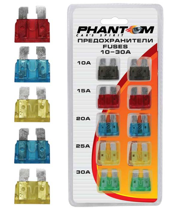 Предохранители Phantom, флажковые, 10 шт. PH52485248Флажковые предохранители Phantom, изготовленные из металла и пластика, предназначены для защиты электросети автомобиля. В набор входят: - 2 предохранителя по 7,5А, - 2 предохранителей по 10А, - 2 предохранителей по 15А, - 2 предохранителя по 20А,- 2 предохранителя по 30А. Предохранители надежны и безопасны, а качественная упаковка обеспечивает удобство хранения. Характеристики:Материал: пластик, металл. Размер предохранителя: 1,5 см х 1,5 см х 0,3 см. Сила тока: 7,5А; 10А; 15А; 20А; 30А. Комплектация: 10 шт. Размер упаковки: 10 см х 18 см х 1 см. Производитель: Китай. Артикул:PH5248.