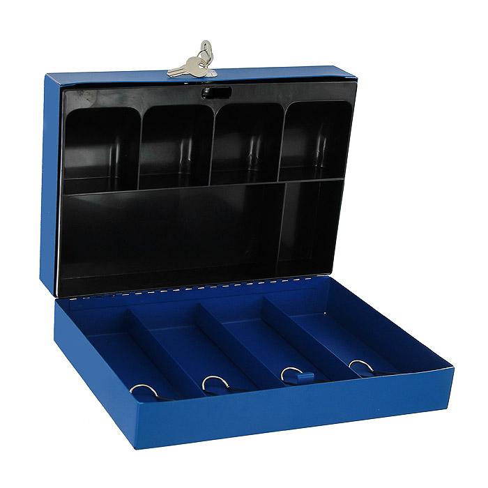 Вашему вниманию предлагается металлический ящик для хранения денег и мелких предметов с ключевым замком. Контейнер покрашен методом напыления краски в серебряный цвет.  В комплект входят 2 ключа. Внутри пластиковый лоток для мелочи. Для удобства транспортировки предусмотрена никелированная ручка.   Характеристики:  Материал: металл, пластик. Цвет: синий. Размер кэшбокса: 29 см х 19,5 см х 8 см. Изготовитель: Китай.