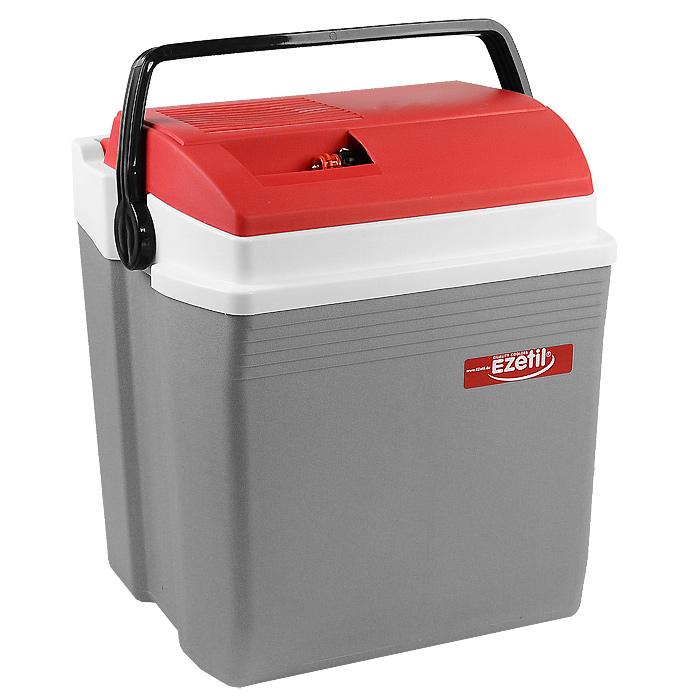 Автомобильный холодильник Ezetil E 28, цвет: серый, красный, 28 л10775735Малогабаритный электрический холодильник Ezetil E 28S предназначен для хранения и транспортировки предварительно охлажденных продуктов и напитков. Контейнер удобно использовать в салоне автомобиля в качестве портативного холодильника. Он легко поместится в любой машине! Особенности автомобильного холодильника Ezetil E 28S:- выполнен из прочного пластика высокого качества,- работает от 12 В прикуривателя,- внутри контейнера имеется вместительный отсек для хранения продуктов и напитков,- подходит для хранения 1,5-литровых бутылок в вертикальном положении,- крышка холодильника открывается одной рукой,- встроенный вентилятор, изоляция из пеноматериала и отсек для хранения шнура и штекера прикуривателя (12 В) вмонтирован в крышку,- дополнительный внутренний вентилятор в холодильной камере обеспечивает быстрое и равномерное охлаждение,- мощная, не нуждающаяся в техобслуживании охлаждающая система Peltier гарантирует оптимальную производительность по холоду,- работает под любым углом наклона,- действенная изоляция с наполнителем из пеноматериала поддерживает в холодном состоянии пищу и напитки в течение длительного времени, в том числе и без подачи электроэнергии,- специальная уплотнительная резинка в крышке уменьшает образование конденсата в холодильной камере,- для удобной переноски автомобильный холодильник снабжен надежной пластиковой ручкой.Такой компактный и вместительный холодильник послужит отличным аксессуаром для вашего автомобиля!Прилагается инструкция по эксплуатации на нескольких языках, в том числе на русском языке.Материал: пластик, металл, пеноматериал.Объем холодильника: 28 л.Размер холодильника (В х Ш х Д): 45 см х 28 см х 34 см.Гарантия производителя: 2 года.