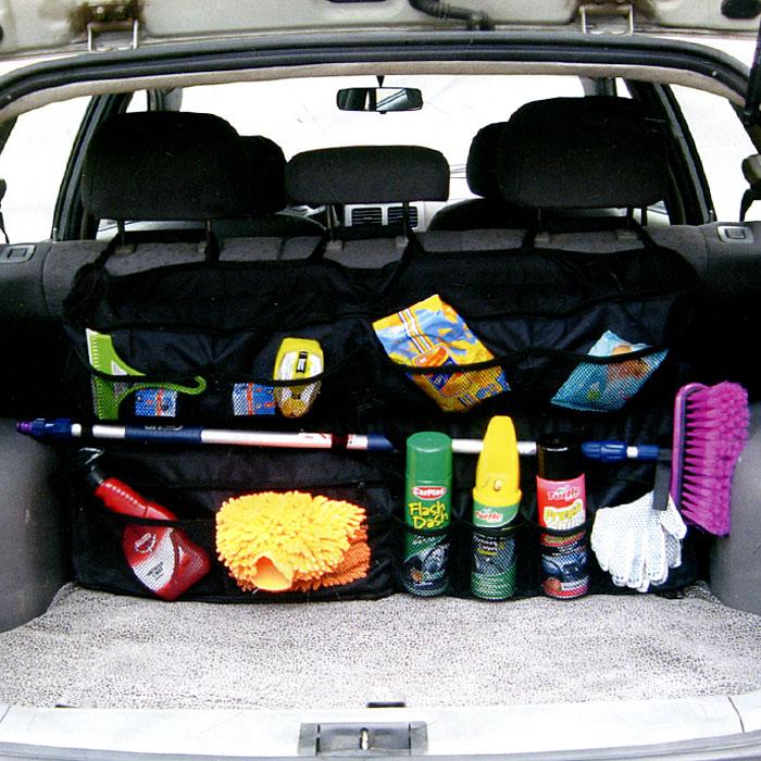 Органайзер на спинку заднего сиденья Comfort Adress, размер XLbag 030Органайзер на спинку заднего сиденья Comfort Adress позволяет сохранить чистоту и свободное место в багажнике. Органайзер имеет плоскую форму, поэтому он позволяет хранить в багажнике автомобиля огромное количество различных предметов и максимально сохранить свободное пространство багажника.Все карманы органайзера закрываются молнией, что позволяет складывать сидения и не бояться, что все выпадет.К двум большим карманам, закрывающимся на молнию, пришиты 10 маленьких карманчиков из прочной сетки. Посередине, между верхним и нижним карманами, сделаны специальные крепления (4 шт) для длинных вещей.Органайзер имеет простую и удобную систему установки. Характеристики: Материал: непромокаемая ткань ПВХ 600D. Размер (Ш х В х Г) карманов: 100 см х 50 см х 5 см. Цвет:черный. Производитель: Россия. Артикул: bag 030.