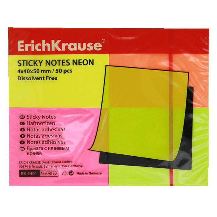 Бумага для заметок Erich Krause, с липким слоем, 200 листов, 5 см х 4 см4401Бумага для заметок Erich Krause с липким слоем прекрасно подойдет для записи номеров телефонов, адресов, напоминания о важной встрече или внезапно пришедшей полезной мысли.Бумагу можно наклеивать на любую гладкую поверхность, без опасения оставить след от клея.Комплект включает четыре блока по 50 листов желтого, салатового, розового и оранжевого цветов. Характеристики:Размер листа: 5 см х 4 см. Количество: 50 листов в блоке.
