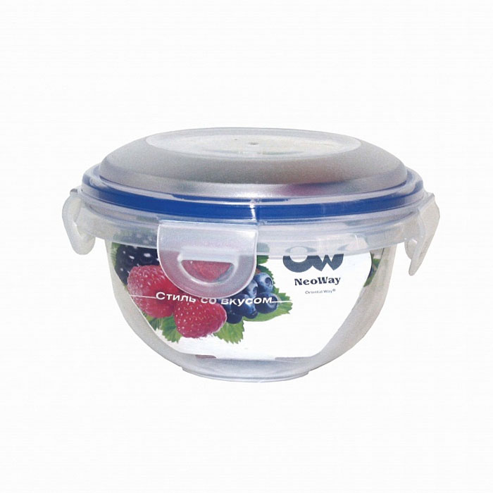 Контейнер для СВЧ NeoWay Enjoy круглый, 0,78 лYP1028AКруглый контейнер для СВЧ NeoWay Enjoy, выполненный из высококачественного пластика, это удобная и легкая тара для хранения и транспортировки бутербродов, порционных салатов, мяса или рыбы, горячих и холодных блюд, даже жидких продуктов. Контейнер 100% герметичен. Крышка оснащена четырьмя специальными защелками и силиконовым уплотнителем. Клипсы (защелки) позволяют произвести защелкивание более чем 400000 раз. Пустотелый силиконовый уплотнитель имеет большую гибкость и лучшее прилегание. Контейнеры могут быть вставлены один в другой, что позволяет сэкономить много пространства. Контейнер для СВЧ NeoWay Enjoy выдерживает температуру в диапазоне от -20°C до +120°C, его можно мыть в посудомоечной машине и нельзя нагревать пустым. Характеристики:Материал: пластик. Объем контейнера: 0,78 л. Диаметр контейнера: 13,5 см. Высота контейнера (без учета крышки): 8 см. Производитель: Китай. Артикул: YP1028A.