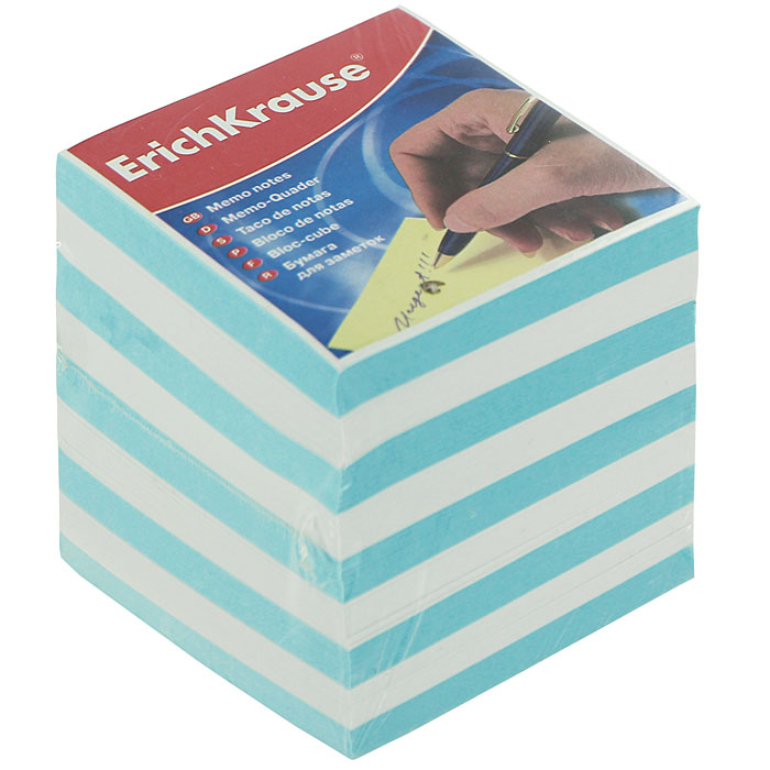 Бумага для заметок Erich Krause, цвет: голубой, белый, 9 см х 9 см х 9 см xixu 9