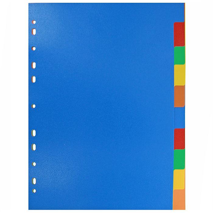Разделитель цветовой Erich Krause, 10 цветов, формат А42715Цветовой разделитель листов Erich Krause - удобный офисный инструмент, предназначенный для классификации документов и рабочих бумаг формата А4. Универсальная перфорация совместима со всеми видами кольцевых механизмов.Комплект включает пластиковые разделители 10 ярких цветов.Характеристики:Размер разделителя:29,5 см x 22,5 см. Формат:А4. Количество:10 шт. Изготовитель:Малайзия.